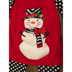 dc46e5f64b4a Rare Editions Matching Sets - Christmas Holiday Snowman Top & Polka Dot  Pant Set